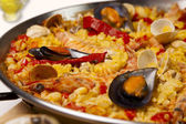 Spanish seafood rice paella, close up — Stock Photo