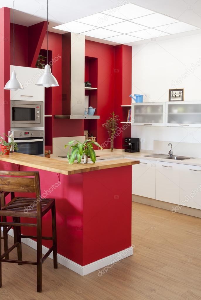 Moderna cocina interior con barra — foto de stock © sixdun #31705253