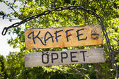 Swedish cafe sign — Stock Photo
