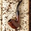 Smoking pipe on a book — Foto Stock