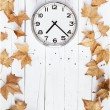 Stock Photo: Clock and leaves