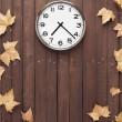 Stock Photo: Clock and leaves around