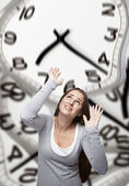 Time pressure on a woman — Stock Photo