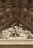 Tympanum in the Cathedral of Seville — Stock Photo
