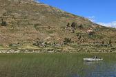 Riet eilanden aan het titicacameer — Stockfoto