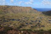 Paskalya adası yanardağ krateri rano kau — Stok fotoğraf