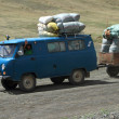 Transport at mongolian roads — Stock Photo