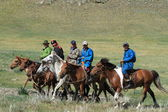 Mongolian Horse Back Riders — Stock Photo