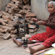 Old Poor Woman are Spinning — Stock Photo #46115039