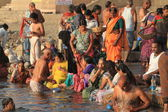The Holy Bath in the River of Varanasi in India — Stock Photo