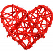Decorative wooden heart in red — Stock Photo #34205595