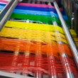 Stock Photo: Textile machine with rainbow colors threads