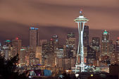 Seattle Skyline at Night — Stock Photo