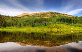 Beaver Pond Reflection Panorama — Stock Photo