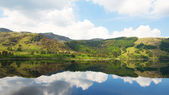 Calm lake and reflection of Windermere hills, Lake District — Stock Photo