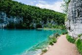Idyllic blue lake in forest with crystal clear water — Stock Photo