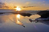 Sunrise At Mengkabong Bridge Tuaran, Kota Kinabalu, Sabah Malaysia — Stock Photo