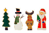 Christmas-tree-snowman-reindeer-santa — Stock Photo
