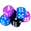 Stack of big dice on white. — Stock Photo