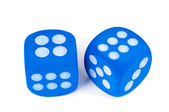 Two blue dice on white background. — Stock Photo