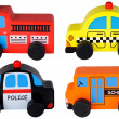 Stock Photo: Set of four wooden toy cars isolated on white