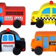 Set of four wooden toy cars isolated on white — Stock Photo