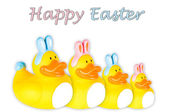 Rubber duck Family dressed as Easter bunnies — Stock Photo