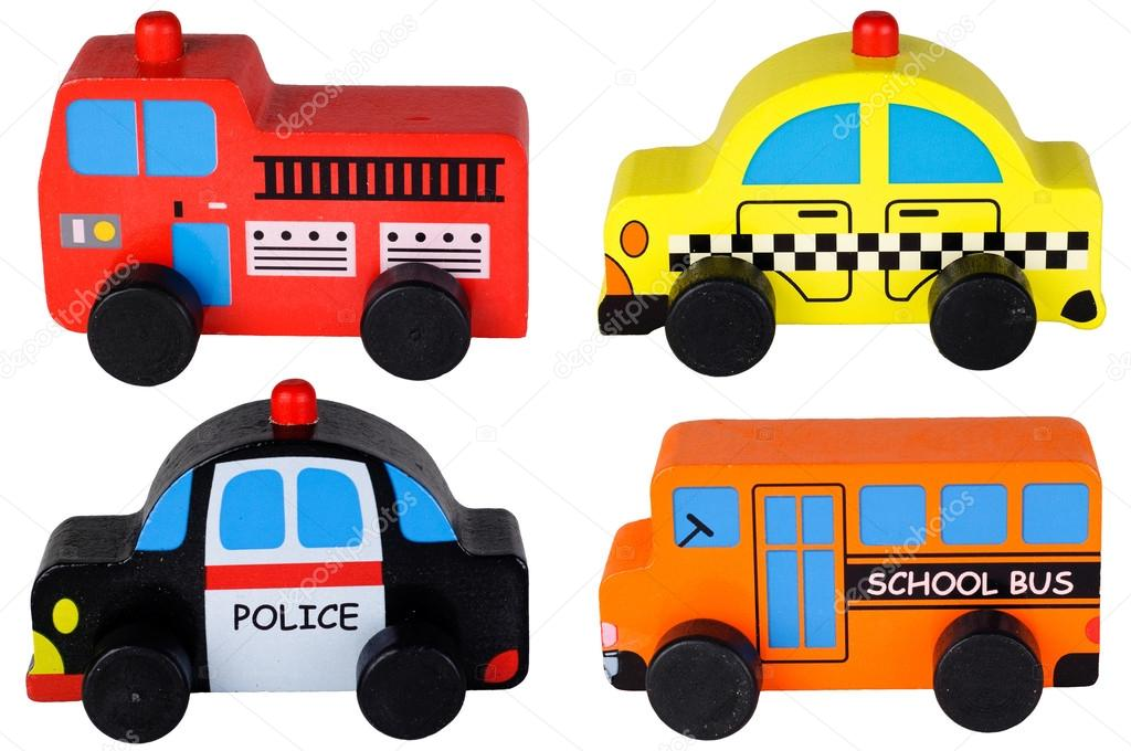 Set of four isolated wooden toy cars. Red fire truck, yellow taxi cab ...