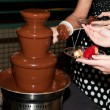 Chocolate fountain at a wedding — Stock Photo