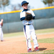 Little league pitcher waiting to pitch — Stock Photo