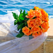 Wedding Bouquet of Orange Roses - Stock Photo