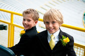 Two brothers dressed in a suit. — Stock Photo
