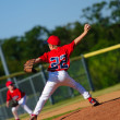 Stock Photo: Young little league pitcher