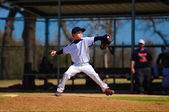 Youth baseball pitcher in wind up — Stock Photo