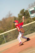 Young baseball pitcher on the mound — Stock Photo