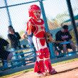 Little league baseball catcher - Stock Photo