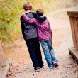 Two brothers hugging and walking on bridge — Stock Photo