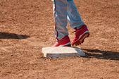 Honkbal tiener op basis — Stockfoto