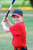 Küçük lig beysbol çocuk portresi — Stok fotoğraf