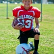 Happy youth football boy — Stock Photo