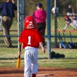 Little league batter from behind — Stock Photo