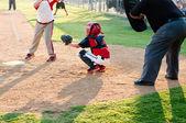 Youth baseball catcher — Stock Photo