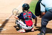 Teen baseball catcher — Foto de Stock