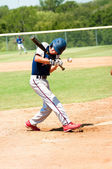 Teen baseball boy at bat — Stock Photo