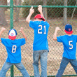 Three boys in backwards hats at park — Stock Photo