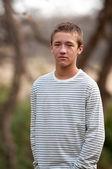 Sad teen outdoors — Stock Photo