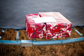 Gifts on a trampoline — Stock Photo