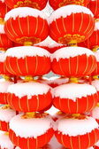 Chinese red lantern on snow — Stock Photo
