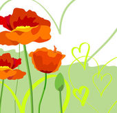 Poppies and Hearts — Stock vektor
