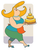 Fat Housewife with cake — Stock Vector
